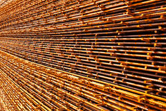 Steel bars construction. Rusty steel structure on the rack on costruction site Stock Photo