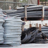 Steel bars at construction site Stock Photo