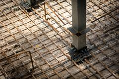 Steel bars Construction at the construction site. Iron weld wire royalty free stock image