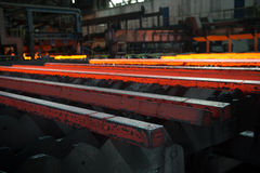 Steel bars just after casting. Before lamination Royalty Free Stock Images