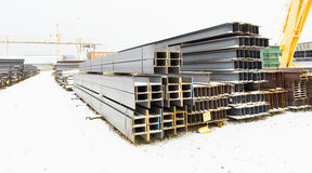 Steel bars in outdoor warehouse Stock Image
