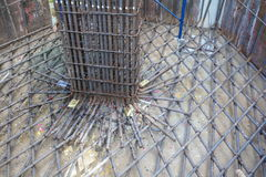 Steel bars for reinforced concrete column  in construction site Royalty Free Stock Photos