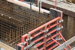 Steel bars for reinforced concrete foundation. Big Steel bars ready for reinforced concrete foundation Stock Photo