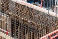 Steel bars for reinforced concrete foundation Royalty Free Stock Photo