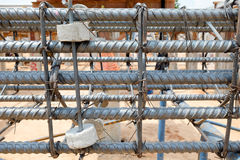 Steel bars with wire rod for reinforcement of concrete or cement structure in construction site Stock Images