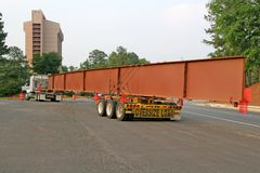 Steel Beam. A huge steel beam for bridge construction on a truck Royalty Free Stock Photo
