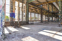 Steel Beam Framing: Old Power House Ruins Stock Photography