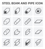 Steel Beam Pipe. Profile of steel beam and pipe product icon for construction material Stock Photo