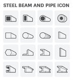 Steel beam pipe. Vector icon of steel pipe and beam product  for construction industry work Stock Photos