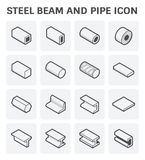 Steel beam pipe. Vector icon of steel pipe and beam product  for construction industry work Stock Photo
