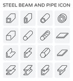 Steel beam pipe. Vector line icon of steel pipe and beam product  for construction industry work Royalty Free Stock Photography