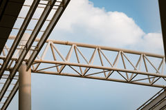 Steel beam of the roof on blue sky background Stock Photography