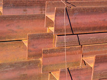 Steel beams. Piled up for shipment, Italy Stock Image