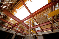 Steel Beams on the Construction Site. Red Steel Beams on the Construction Site royalty free stock image