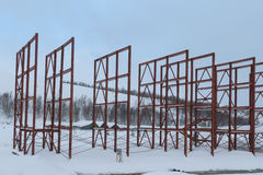Steel beams at a construction site. Steel beams on a construction site in winter Stock Photography