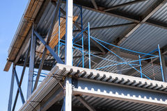 Steel beams, decking with concrete floors. Modern industrial building is under construction. Steel beams, decking with concrete floors Stock Images