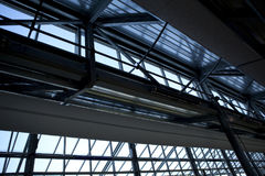 Steel beams inside an office. Steel beams inside a modern office building Royalty Free Stock Photography