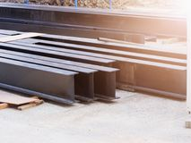 Steel beams. New Steel beams at construction site Royalty Free Stock Photo
