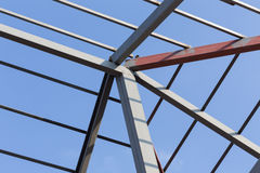 Steel beams roof truss residential building construction Royalty Free Stock Photography