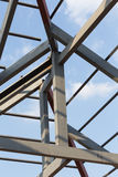 Steel beams roof truss residential building construction Royalty Free Stock Image