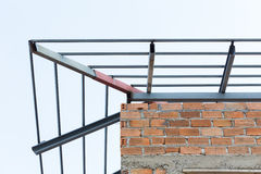 Steel beams roof truss residential building construction Royalty Free Stock Photo