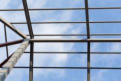 Steel beams roof truss residential building construction Royalty Free Stock Images