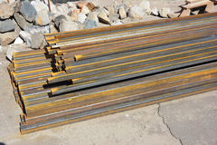Steel beams for roofing. Rust steel channel bunch Stock Photography