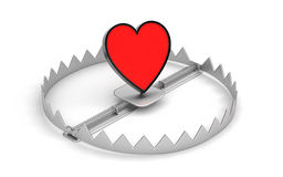 Steel bear trap with red heart symbol Stock Photo