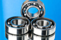 The steel bearing. Steel bearings, it is photographed on a dark blue background Stock Image
