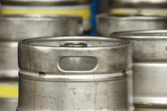 Steel beer barrels Stock Images