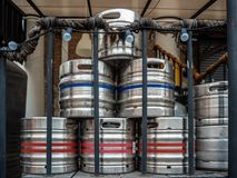 Steel beer kegs on the back of the restaurant stock images