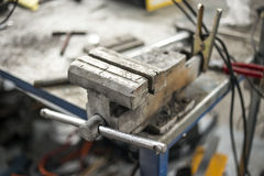 Steel bench vice Royalty Free Stock Photo