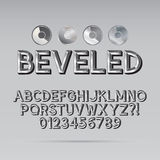 Steel Beveled Outline Font and Digit Stock Photo