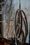 Steel bicycle wheels hang with rope Stock Images