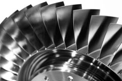 Steel blades of turbine propeller. Close-up view. In B/W Royalty Free Stock Photo