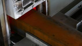 Chamber furnaces for steel. Steel block is sent to a furnace for heating it stock video footage