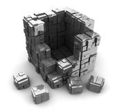 Steel blocks. 3d illustration of metal cube build with blocks Stock Photos