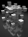 Steel blocks structure. Abstract 3d illustration of box building from steel blocks Stock Photo