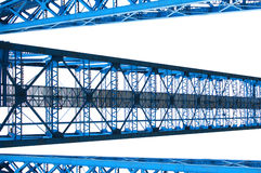 Steel blue. Abstract shapes of steel pillars and gantry Stock Photos