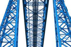 Steel blue. Abstract shapes of steel pillars and gantry Stock Photography