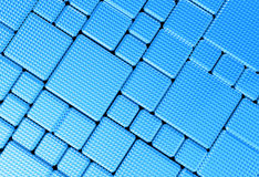 Steel blue cube mesh metal plate background Stock Images