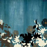 Steel blue distressed background. Steel blue, grey distressed background with silhouetted floral foreground Stock Photography