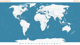 Steel Blue World Map and navigation icons - illustration. Royalty Free Stock Photography
