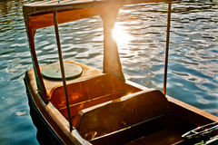 Steel boat in strong sunlight. Steel colorful boat in strong sunlight Royalty Free Stock Images