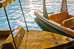 Steel boat in strong sunlight. Steel colorful boat in strong sunlight Stock Image