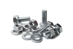 Steel bolts and nuts Stock Photo