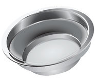 Steel bowl. For domestic use and feeding pets. Vector illustration Royalty Free Stock Images