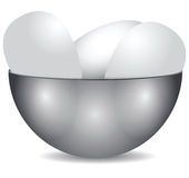 Steel bowl with eggs Royalty Free Stock Image