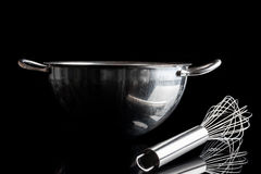 Steel bowl with whisker from side with reflection black Royalty Free Stock Images