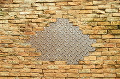 Steel and brick block wall Royalty Free Stock Images